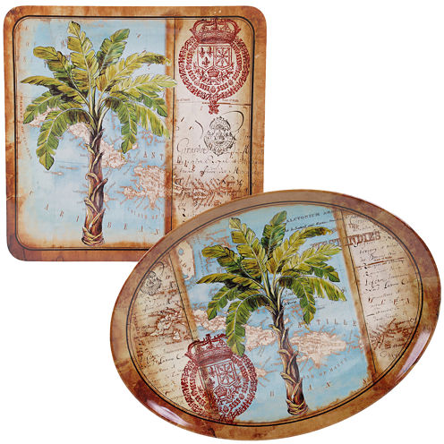 Certified International Antique Palms 2-pc. Melamine Platter Set