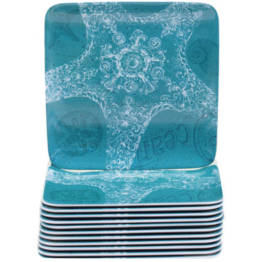 jcpenney.com | Certified International Aqua Treasures Set of 12  Melamine Canapé Plates