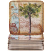 Certified International Antique Palms Set of 12 Melamine Canapé Plates