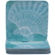 Certified International Aqua Treasures Set of 6 Melamine Salad Plates