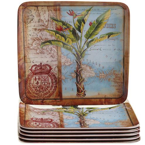 Certified International Antique Palms Set of 6 Melamine Salad Plates