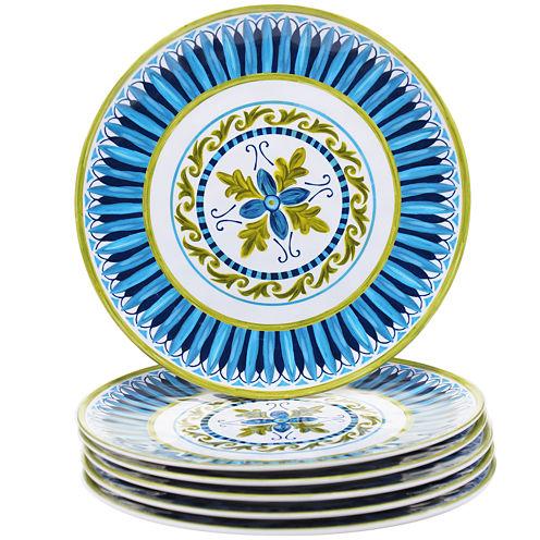 Certified International Blue Grotto Set of 6 Melamine Salad Plates