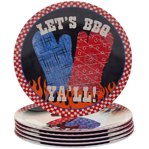 Certified International BBQ Bandit Set of 6 Melamine Salad Plates