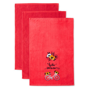 jcpenney.com | JCPenney Home™ Hello Summer Set of 3 Kitchen Towels