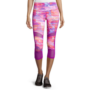 jcpenney.com | Xersion™ Shirred Mesh Mixed Capris