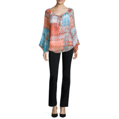 jcpenney.com | Alyx® Long-Sleeve Printed Peasant Top or Straight-Leg Pull-On Pants