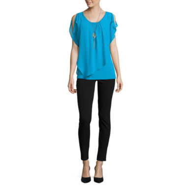 jcpenney.com | Alyx® Flutter Sleeve Top with Necklace or Millennium Pants