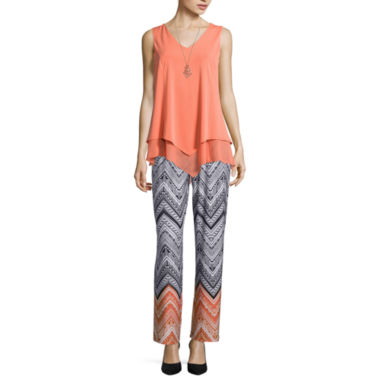 jcpenney.com | Alyx® Sleeveless Layered Top with Necklace or Bootcut Printed Palazzo Pants