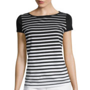 Liz Claiborne® Cap-Sleeve Striped Tee