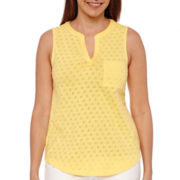Liz Claiborne® Split Neck Tank Top