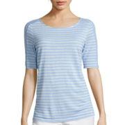 Liz Claiborne® Elbow-Sleeve Striped Tee