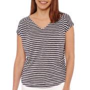 Liz Claiborne® Short-Sleeve Stripe Tee