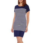 Liz Claiborne® Short-Sleeve Striped Shirt Dress