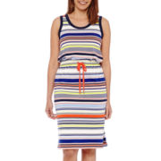Liz Claiborne® Sleeveless Striped Midi Dress - Tall