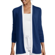 Liz Claiborne® Long-Sleeve Tipped Open Cardigan