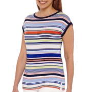 Liz Claiborne® Extended-Shoulder Striped Tee
