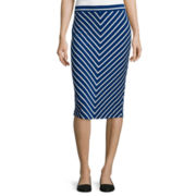 Liz Claiborne® Mitered Stripe Midi Skirt