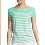 Liz Claiborne® Cap-Sleeve Striped Tee