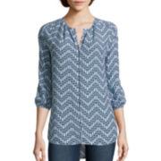 Stylus ™ 3/4-Sleeve Peasant Shirt- Petite