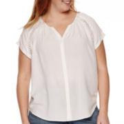 St. John's Bay® Short-Sleeve Button-Front Blouse - Plus