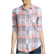 Arizona Boyfriend Plaid Shirt - Juniors