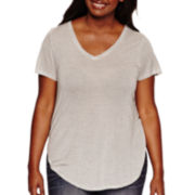 Arizona Short-Sleeve Circle-Hem Slit Tee - Juniors Plus
