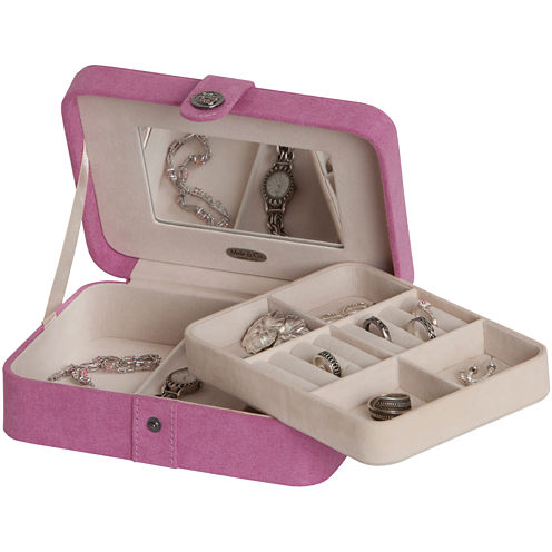 Mele & Co. Giana Pink Plush Fabric Jewelry Box w/ Lift-Out Tray