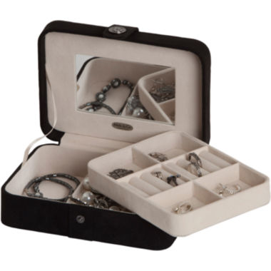 jcpenney.com | Mele & Co. Giana Black Plush Fabric Jewelry Box w/ Lift-Out Tray