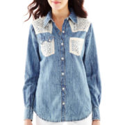 Allen B.® Lace-Trimmed Denim Shirt