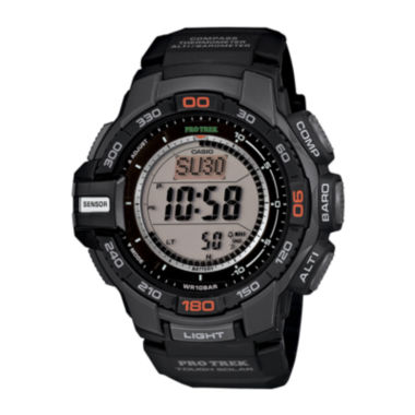 jcpenney.com | Casio ProTrek Mens Black Resin Strap Solar Chronograph Watch PRG270-1