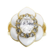 city x city® Gold-Tone Crystal Floral Ring