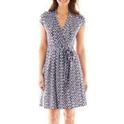 Liz Claiborne Short-Sleeve Faux-Wrap Dress