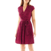 Liz Claiborne® Short-Sleeve Faux-Wrap Dress