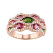 Pink & Green Tourmaline & Cubic Zirconia Ring