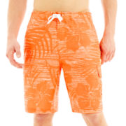 Speedo Line-Drawn Floral Swim Trunks