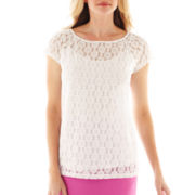 Liz Claiborne Short-Sleeve Lace Top with Cami