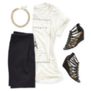 MNG by Mango® Paris Tee, MNG by Mango® Skirt, Necklace or Olsenboye® Sandals