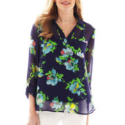 Liz Claiborne 3/4-Sleeve Floral Blouse with Cami