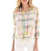 Liz Claiborne 3/4-Sleeve Plaid Tie-Waist Shirt with Cami