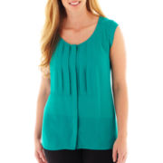 Worthington Pleated Button-Front Top - Plus