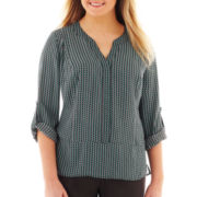 Worthington 3/4-Sleeve Woven Top - Plus