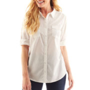 St. John's Bay Clip Dot Roll-Sleeve Campshirt - Petite