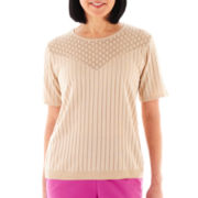 Alfred Dunner When in Rome Short-Sleeve Solid Sweater Shell