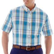 IZOD Short-Sleeve Plaid Woven Shirt-Big & Tall