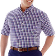 IZOD Short-Sleeve Plaid Woven Shirt-Big & Tall