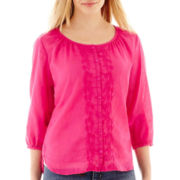 St. John's Bay® 3/4-Sleeve Button-Front Peasant Top