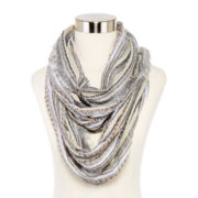Metallic Striped Loop Scarf