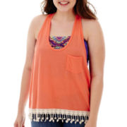 Arizona Fringe Pocket Tank Top - Plus