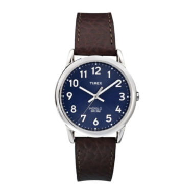 jcpenney.com | Timex® Easy Reader Mens Brown Leather Strap Watch T2P3197R