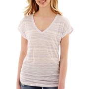 Decree® Short-Sleeve Striped Boyfriend T-Shirt